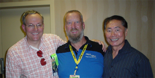 "In 2008, Watts threw a party—complete with cake and ice cream—for George Takei and Brad Altman to congratulate them on their upcoming wedding as part of the annual Rainbow Flag Party.  In addition to three guests appearances at Dragon*Con, Watts worked with Takei on the upstate New York set of Star Trek: New Voyages  for the episode ""World Enough and Time."""