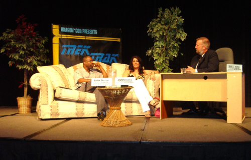 "LeVar Burton and Marina Sirtis were the guests at the first  ""TrekTrak Show"" in 2005, where Watts set up the ballroom stage  like a late-night talk show and conducted an interview in a  conversational style rather than a typical back-and-forth Q&A.  Some  fans loved the talk-show format because it was new and different, while  others resented not being able to ask their own questions."