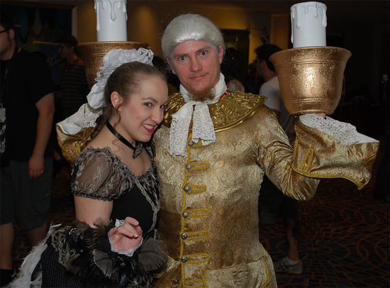 Beauty and the Beast's Lumiere and Featherduster at Dragon*Con 2010